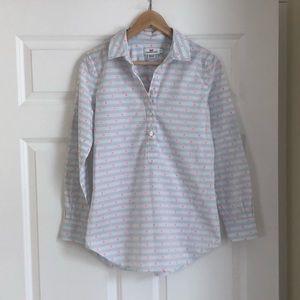 Vineyard Vines Half Button Down Dotted Shirt Sz 0